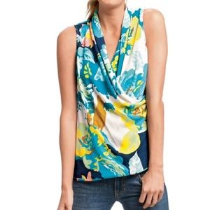 Cabi #741 Spring Blossom Faux Wrap Blouse XS